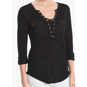 White House Black Market lace up pocket top 7605